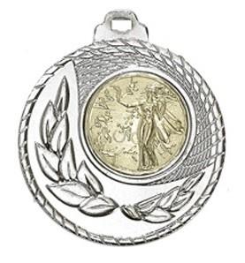 """Medaille """"Kamiros"""" Ø 50mm mit Wunschemblem und Band silber"""