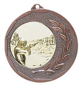 """Medaille """"Singos"""" Ø 40mm mit Wunschemblem und Band bronze"""