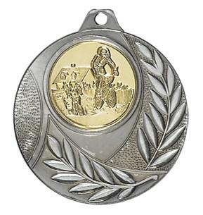 """Medaille """"Vergina"""" Ø 50mm mit Wunschemblem und Band silber"""