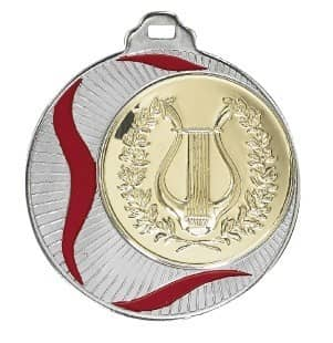 """Medaille Akragas"""" Ø 70mm mit Wunschemblem und Band silber"""