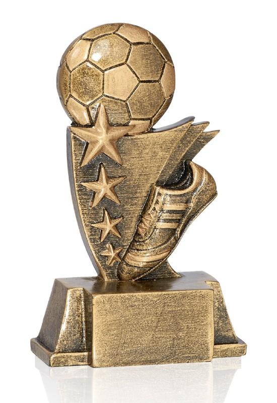 Trophäe Fußball mit Schuh & 4 Sternen FS16904