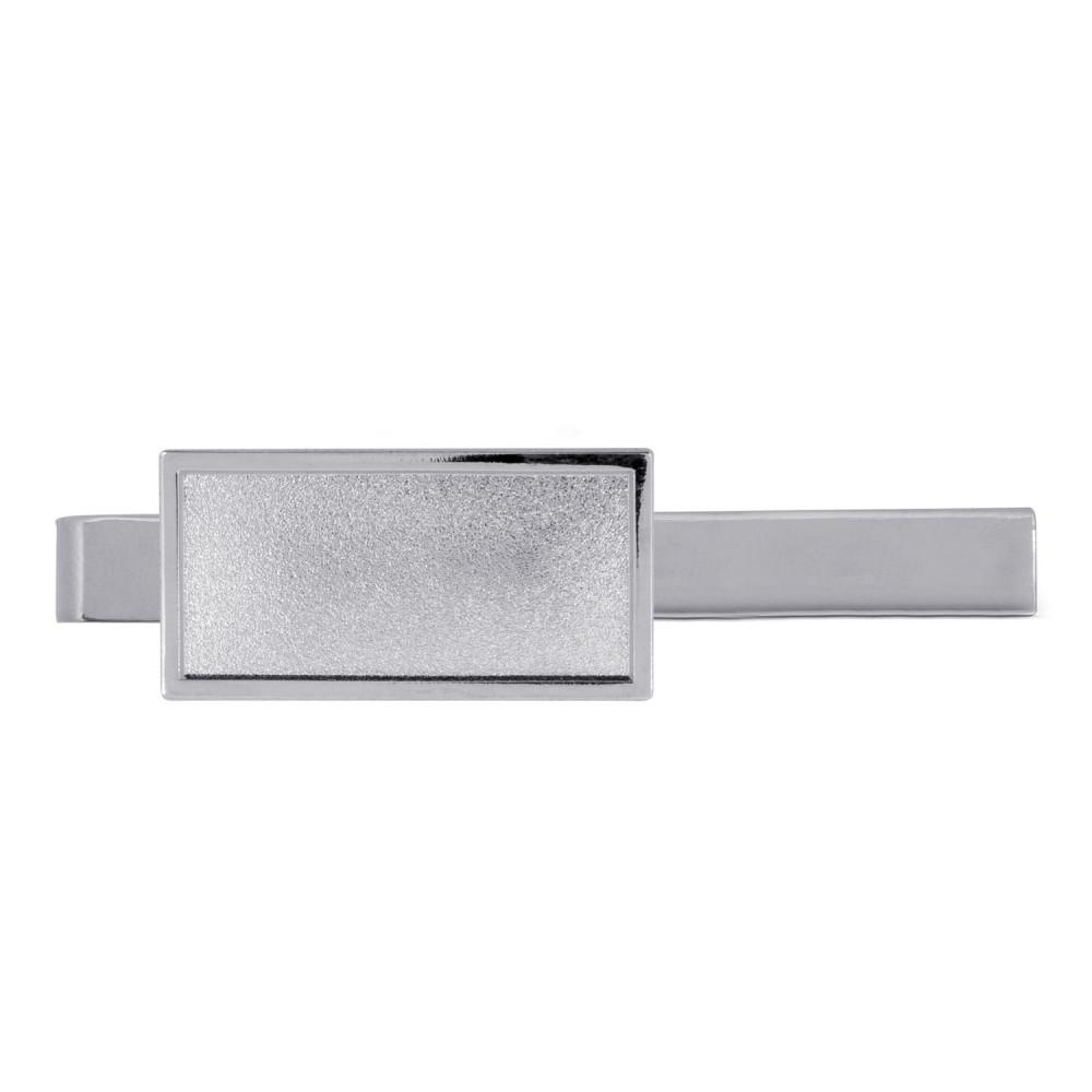 Krawattenklammer mit Auflage rechteckig 30x15mm silber