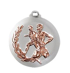 """Medaille """"Laufen"""" Ø 50mm silber mit Band Bronze"""