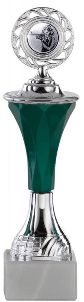 Pokale 6er Serie A294 silber/grün mit Deckel 19 cm