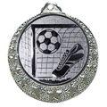"""Fußball Medaille """"Brixia"""" Ø 32mm mit Wunschemblem und Band - Farbe - silber"""