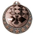 """Schach Medaille """"Brixia"""" Ø 32mm mit Wunschemblem und Band - Farbe - bronze"""