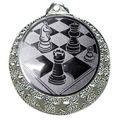 """Schach Medaille """"Brixia"""" Ø 32mm mit Wunschemblem und Band - Farbe - silber"""