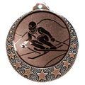 """Ski Medaille """"Brixia"""" Ø 32mm mit Wunschemblem und Band - Farbe - bronze"""