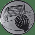 Emblem 25mm Handball mit Tor, silber