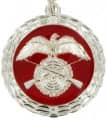 Medaille - Farbe - silber-rot