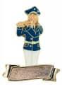 Musikerin Flötenspielerin mit Gravurfläche - Ausführung - blau-weiß