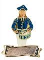 Musikerin Trommelspielerin mit Gravurfläche - Ausführung - blau-weiß