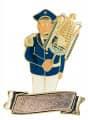 """Musiker """"Larry Lyra"""" Lyraspieler mit Gravurfläche - Ausführung - blau-weiß"""
