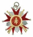 Schützenorden Stern mit Gewehren - Ausführung - silber/rot