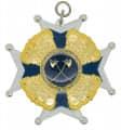 Schützenorden mit Kronen - Ausführung - silber/blau