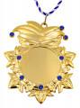 """Karnevalsorden """"Kappe und Maske"""" Gold mit Schmucksteinen - Ausführung - blaue Schmucksteine"""