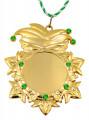 """Karnevalsorden """"Kappe und Maske"""" Gold mit Schmucksteinen - Ausführung - grüne Schmucksteine"""