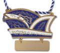 Karnevalsorden Narrenkappe mit Gravurschild - Farbe - blau-weiß
