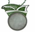 Runder Karnevalsorden mit Narrenkappe - Farbe - grün-weiß
