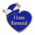 """Herzpin """"I Love Karneval"""" - Farbe - blau"""