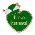 """Herzpin """"I Love Karneval"""" - Farbe - grün"""