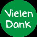 "Danke Emblem ""Vielen Dank"" 25mm grün"