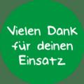 """Danke Emblem """"Vielen Dank für deinen Einsatz"""" 25mm grün"""