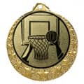 "Basketball Medaille ""Brixia"" Ø 32mm mit Wunschemblem und Band - Farbe - gold"