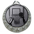 "Basketball Medaille ""Brixia"" Ø 32mm mit Wunschemblem und Band - Farbe - silber"
