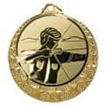 """Bogenschützen Medaille """"Brixia"""" Ø 32mm mit Wunschemblem und Band - Farbe - gold"""