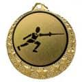 "Fecht Medaille ""Brixia"" Ø 32mm mit Wunschemblem und Band - Farbe - gold"