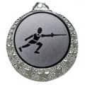 "Fecht Medaille ""Brixia"" Ø 32mm mit Wunschemblem und Band - Farbe - silber"