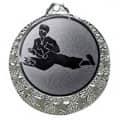 """Karate Medaille """"Brixia"""" Ø 32mm mit Wunschemblem und Band - Farbe - silber"""