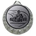 """Kart Medaille """"Brixia"""" Ø 32mm mit Wunschemblem und Band - Farbe - silber"""