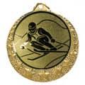 """Ski Medaille """"Brixia"""" Ø 32mm mit Wunschemblem und Band - Farbe - gold"""