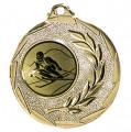 """Ski Medaille """"Cava"""" Ø 50mm mit Wunschemblem und Band - Farbe - gold"""