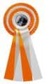 Schleife G104 Vierfache Rosette 150mm - Farbe - orange-weiß