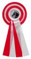 Schleife G104 Vierfache Rosette 150mm - Farbe - rot-weiß