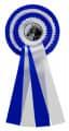Schleife G104 Vierfache Rosette 150mm - Farbe - blau-weiß