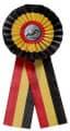 Schleife G108 Länderrosette 170mm - Farbe - belgisch (schwarz-gelb-rot)