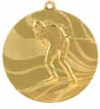 "Medaille ""Ski"" Ø 50mm mit Band - Farbe - Gold"