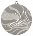 "Medaille ""Ski"" Ø 50mm mit Band - Farbe - Silber"