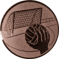 Emblem 25mm Handball mit Tor, bronze
