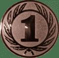 Emblem 25 mm Ehrenkranz mit 1, bronze