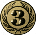 Emblem 25 mm Ehrenkranz mit 3, gold