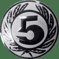 Emblem 25 mm Ehrenkranz mit 5, silber