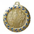 "Medaille ""Football"" Ø 50mm gold/blau mit Band"