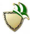 Karnevalspin mit Gravurfläche - Farbe - grün/weiß