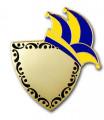Karnevalspin mit Gravurfläche - Farbe - blau/gelb