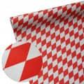 Papiertischband Raute wetterfest - Farbe - rot-weiß